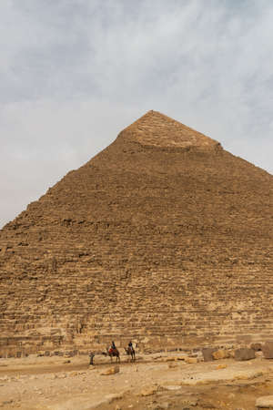 The Pyramid of Khafre or of Chephren, translit. haram ḵafraʿ, is the second-tallest and second-largest of the Ancient Egyptian Pyramids of Giza and the tomb of the Fourth-Dynasty pharaoh Khafre (Chefren), who ruled from c.2558 to 2532 BC.