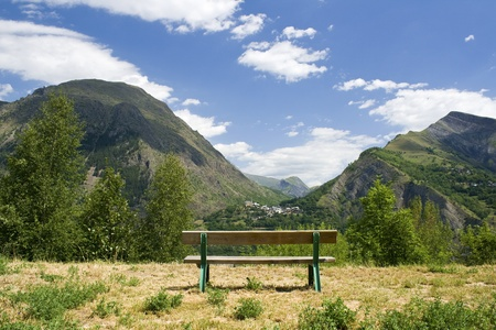 Bench, view in mountain.