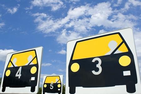 Car sign, traffic, seat belt. Stock Photo