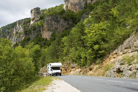 motor home: Auto Camper, motorhome, holiday. Stock Photo