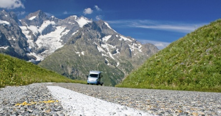 french countryside: Road, in french Alps with motor home