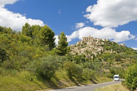 motorhome: Road to Gordes, with RV. Provence. France.