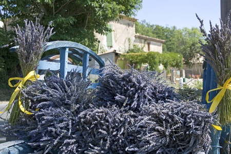 Lavender flower bouquet on cart. Provence. France.