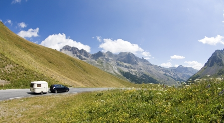 Road, Camping car on holiday in French Alps