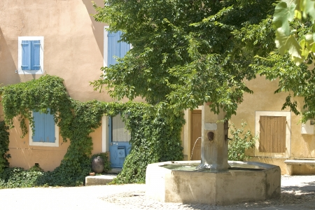 French Village with fountain  Provence  France  photo