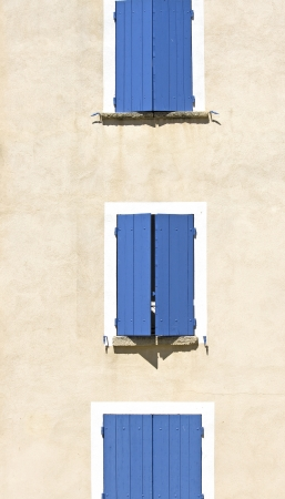 Blue shutter in french village Provence. France Stock Photo