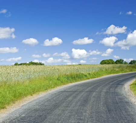 Road in Countryside. Green field landscape. Stock Photo