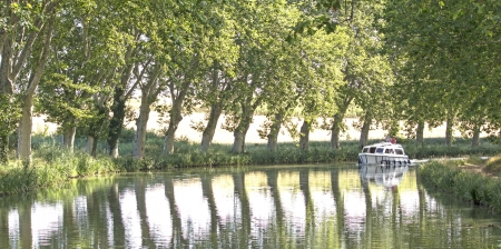 Canal du Midi, with leisure boat  France