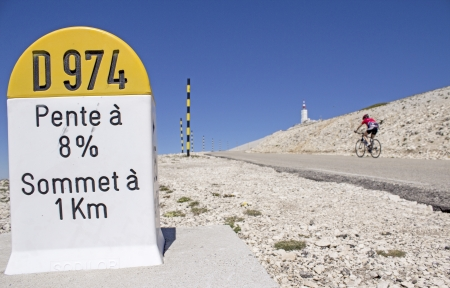 roadside: Milestone at Mont Ventoux, cycling in France