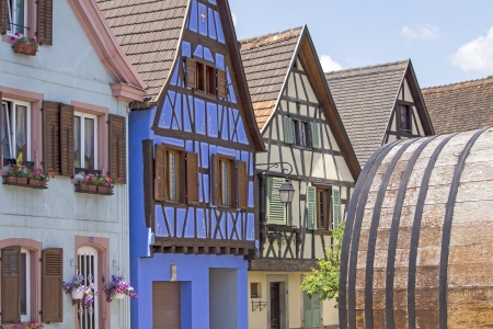 half timbered: Alsace village, colorful house  France