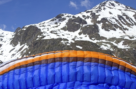 skydive: Sport, extreme sport  Paraglider before take of  Stock Photo