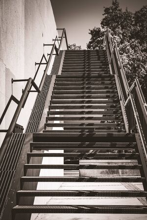 Exterior metal stairs in black and white