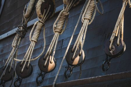 Deadeyes and ropes of an old Spanish Galleon