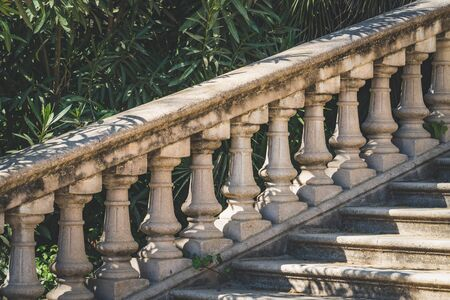 Stone balustrade in neoclassical style at the afternoon light