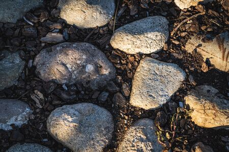 Detail of a cobblestone ground path with boulders and cork bark at the afternoon light