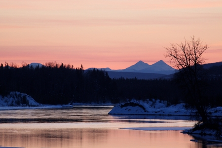 Peace River Winter Sunset Stock Photo