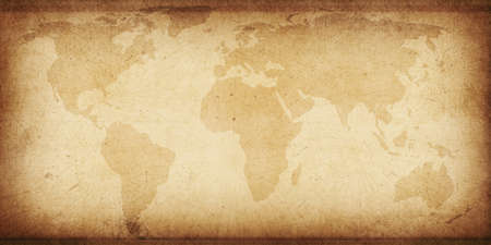 Old and Ancient Style Textured Background with World Map. Abstract ancient backdrop Foto de archivo