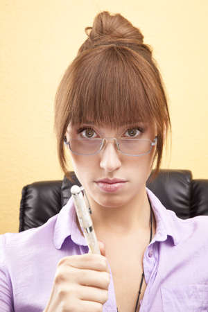 convincing: Secretary with convincing look Stock Photo