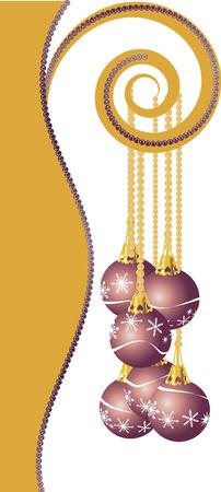 affluence: Cascada de perlas ilustrado adornada con adornos de Navidad copo de nieve.  Vectores