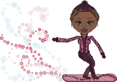 black woman: Mandy is a fun character illustration of a Snowboarder. no Gradients.