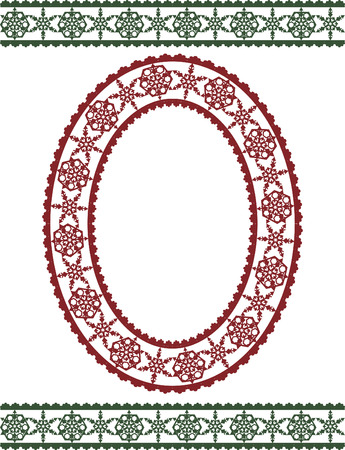 winter solstice: Snowflake lace frame and borders, illustration has no gradients.