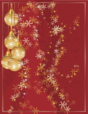 winter solstice: Christmas snowflake abstract background with grunge textures and ornaments.