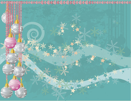 decor: Christmas snowflake abstract background with grunge textures and ornaments.