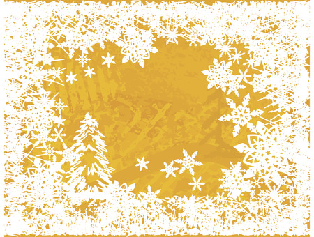 winter solstice: Christmas snowflake abstract background with grunge textures. No gradients. Illustration