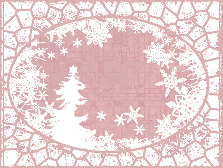 Christmas snowflake abstract background with grunge textures. No gradients. Ilustração