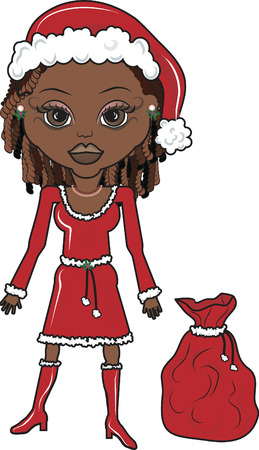 christmas costume: Illustration of Mrs. Mandy Clause with her bags of presents. Illustration