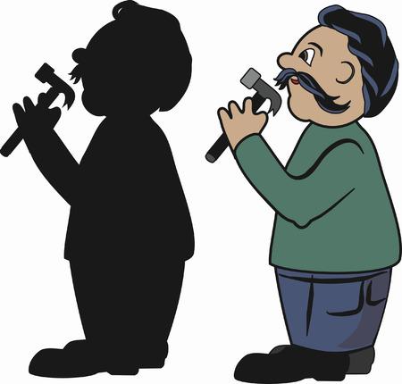 handy man: Cartoon illustrazione di un uomo pratico. N. gradienti. Vettoriali