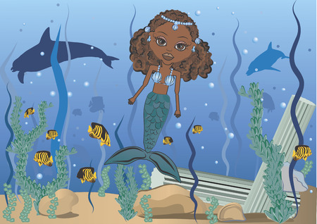 Mandy is a fun character illustration of an African American Mermaid in the ocean she has distinctive and beautiful large brown eyes.  Vector