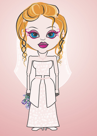 distinctive: Patsy is a fun character illustration of a Blonde Caucasian Bride she has distinctive and beautiful large blue eyes.