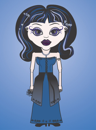 Violet is a fun character illustration of a Gothic Bride. She has distinctive and beautiful large Violet eyes.  Vector