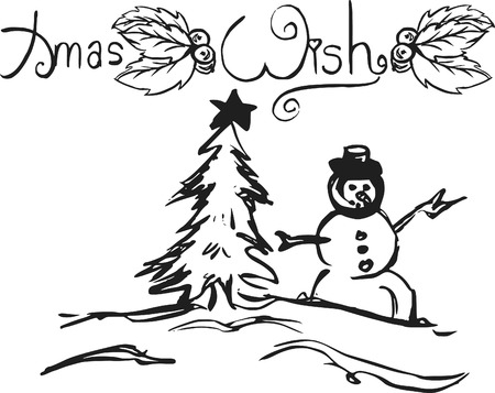 Christmas doodles of wild abandon, made with ink and brush. One color.