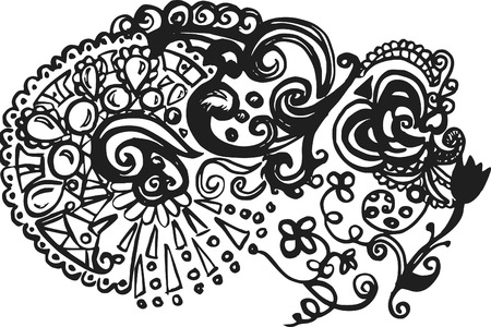 Doodles of wild abandon, abstract drawing, made with ink and brush.  One color. Illustration
