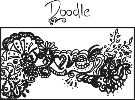 Doodles of wild abandon, abstract drawing, made with ink and brush.  One color. Vector