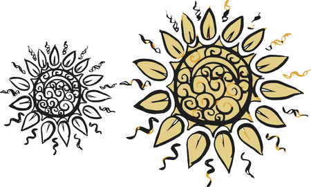 Sun Doodles of wild abandon, abstract drawing, made with ink and brush.  One color. Vector