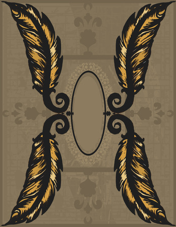 Feather Doodles of wild abandon, abstract drawing, made with ink and brush.  One color. Vector