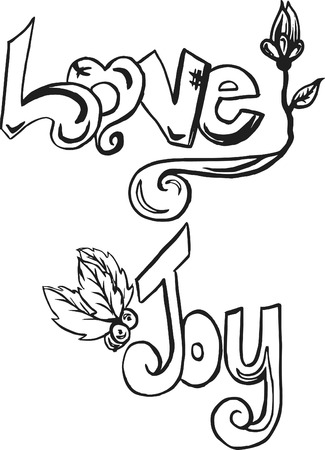 Hand drawn words of hope and joy for the holiday season, made with in and brush.  One color. Vector