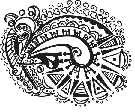doodles of wild abandon, made with ink and brush. One color. Imagens - 2186613