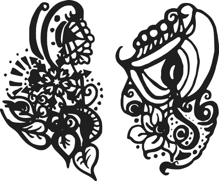 doodles of wild abandon, made with ink and brush. One color. Imagens - 2186606