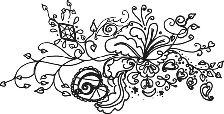 doodles of wild abandon, made with ink and brush. One color. Imagens - 2186609