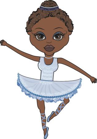 feministische: Mandy is een leuk karakter illustratie van een African American ballerina. Stock Illustratie