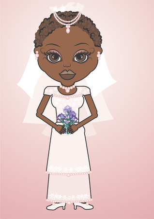distinctive: Mandy is a fun character illustration of an African American Bride she has distinctive and beautiful large brown eyes.   Illustration