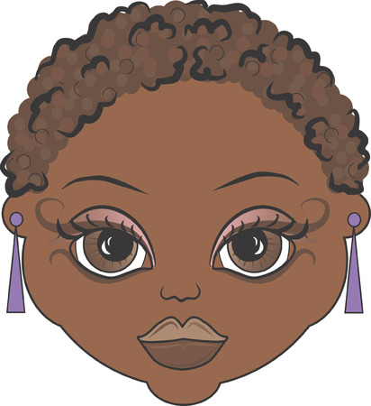she: Mandy is a fun character illustration of an African American she has distinctive and beautiful large brown eyes.