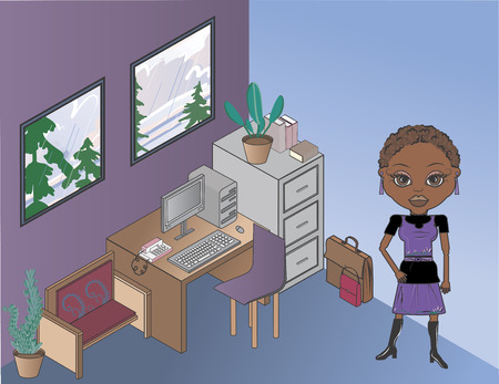 large office: Mandy is a fun character illustration of an African American office worker in her office. The furniture is independently grouped and on its own layer so it is easy to edit. She has distinctive and beautiful large brown eyes.  Illustration
