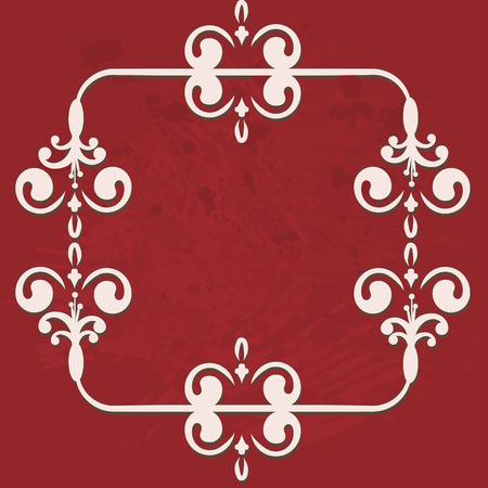 designelement: Abstract floral frame element with grunge textured background. No Gradients.
