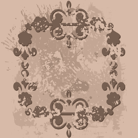 Abstract floral frame element with grunge textured background. No Gradients.