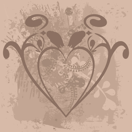 Abstract, Plant, Heart, Love, , , Wedding, Valentine, Foliage, Natural, Stylized, Retro, Style, Leaf, Texture, Nature, Beautiful, Design Element, Design-Element, Illustration, Hand-Drawn, Original, Art, Artistic, Spring, Grow, Artwork, Draw